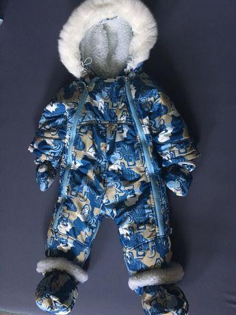 Комбинезон-трансформер зимний для мальчика, синий с голубым - Модный К