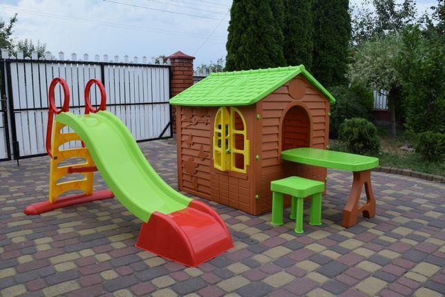 Садовый домик Mochtoys + Горка для ребенка столик+ стульчик Польща