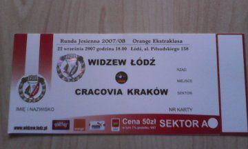 bilet Widzew Łódź-Cracovia Kraków 22 września 2007 rok