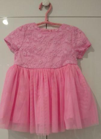 Różowa Sukienka tiulowa specjalna okazja, sesja zdjęciowa, rozmiar 74