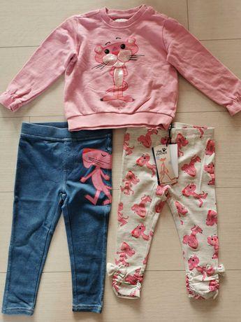 Komplet różowa pantera Reserved legginsy bluza jegginsy 86