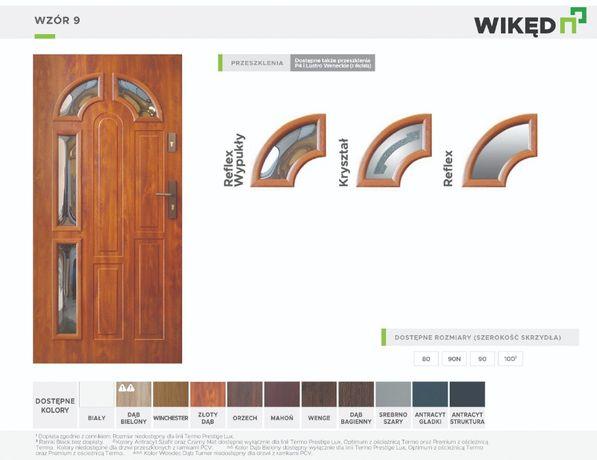Drzwi wejściowe zewnętrzne Wikęd Premium 54mm Wzór 9 wypukły reflex