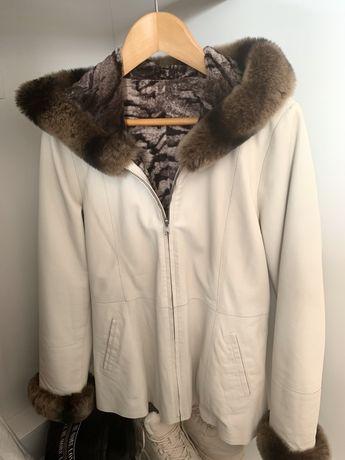 Курточка на девочку с натуральной кожи и меха, турец. фабрики 140-146