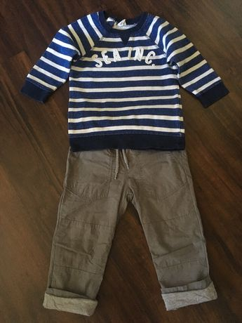 Spodnie i 2 bluzki H&M r.86. Cena za całość.