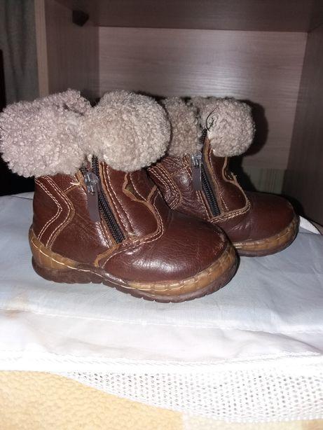Зимние кожание сапожки, ботинки 21размер