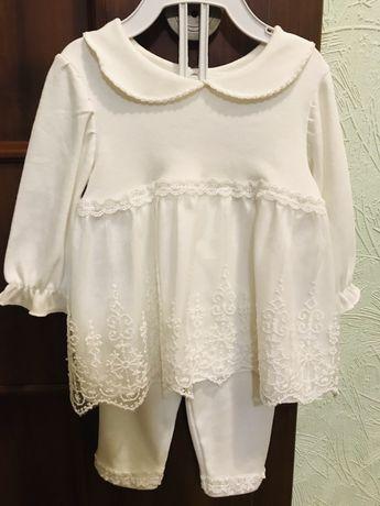 Красивый нарядный комплект костюм крестины платье повязочка на девочку
