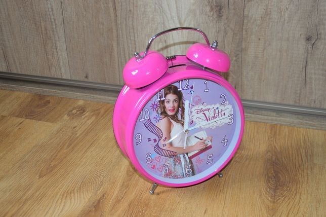 Duży Zegar, budzik metalowy, różowy Violetta. Stan bdb.
