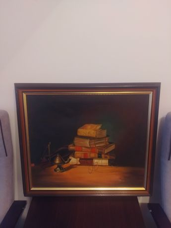 Obraz olejny na płótnie gabinetowy S. Lange
