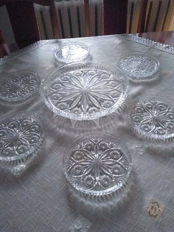 Talerze kryształowe deserowe do ciasta komplet