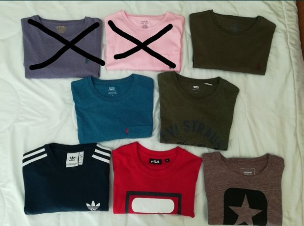 T-shirts Polo Ralph Lauren, Levi's e Adidas