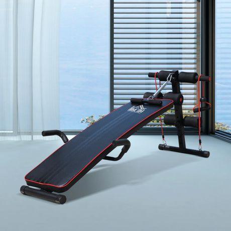Ławka sit up do ćwiczeń mięśni brzucha, taśma oporowa