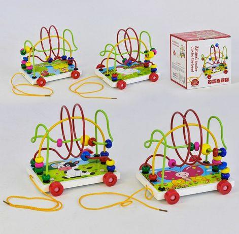 Деревянная каталка пальчиковый лабиринт развивающая игрушка для малыша