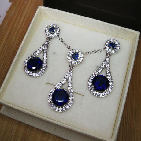 PROMOCJA! Nowy srebrny komplet biżuterii z cyrkoniami