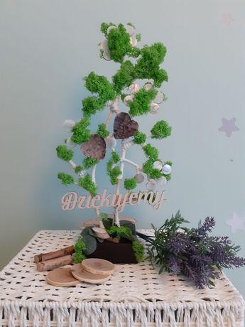 Drzewko ozdoba, ręcznie robione z mchem chrobotkiem