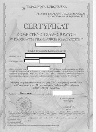 Licencja zezwolenie rzeczy współpraca certyfikat kompetencji zaw.