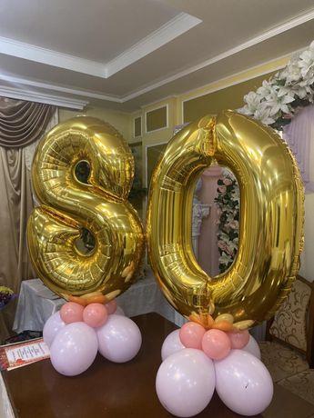 Фольгированные шары цифры 8 и 0
