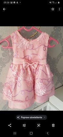 Śliczna różowa sukienka 80-86