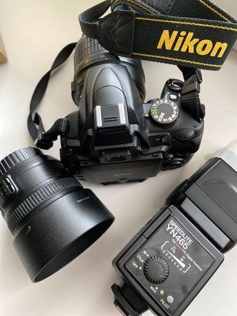 Комплект для начинающего фотографа Nikon D5000 Kit+50mm 1.8+flash