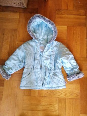 Kurteczka zimowa ciepła 3 latka niebieska kurtka dziecięca