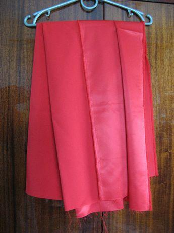 Отрезы ткани красной шелковой атласной, новые