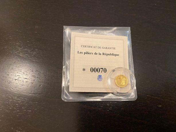 Złota moneta, żeton kolekcjonerski Frappe en or Marianne