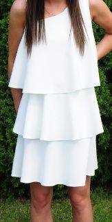 Biała Sukienka Falbana
