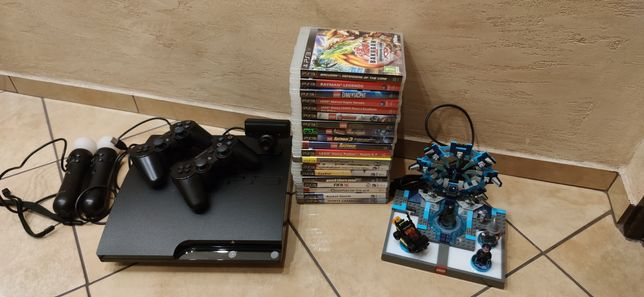 Play Station 3 slim ps3 2 pady 2 move 19 gier 250gb
