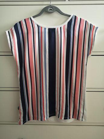 Reserved bluzka z łączonych materiałów 38 M biała paski