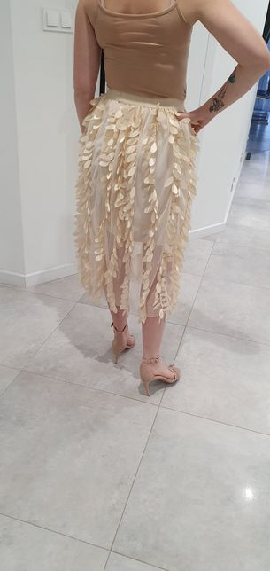 Nowa złota spódnica midi pióra