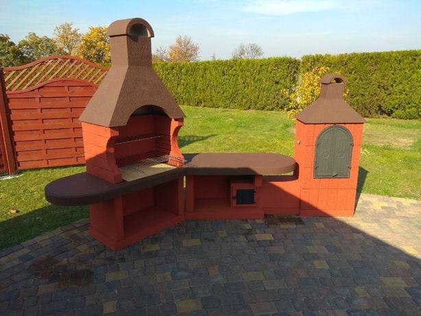 Betonowy grill ogrodowy grill wędzarnia dwa w jednym.