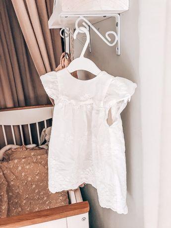 Piekna biala sukienka boho Zara 80 haft majteczki chrzest swięty