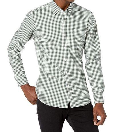 Męska koszula M slim zielona kratka nowa 100% bawełna