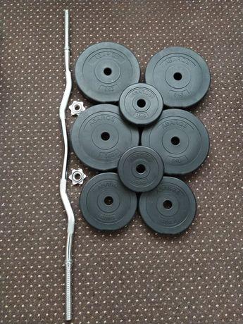 Gryf łamany sztanga 120cm + obciążenia talerze bitumiczne 8szt 28kg
