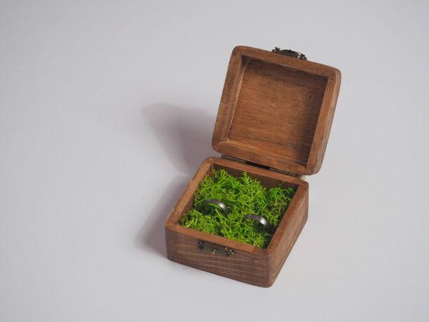 Pudełko na obrączki kwadratowe, szkatułka, ślub boho, eko