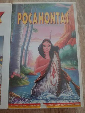 2 kasety VHS bajki Pocahontas, Asterix Gall