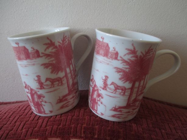 """Duas Canecas de """"Porcelaine Véritable"""" NOVAS com imagens pintadas."""