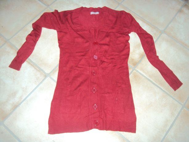 Sweter długi czerwony rozpinany l/xl