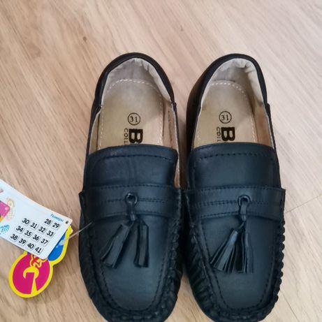 Кожаные туфли макасины кожа