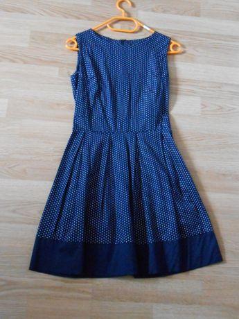 Granatowa sukienka w kropki idealny stan! XS/S