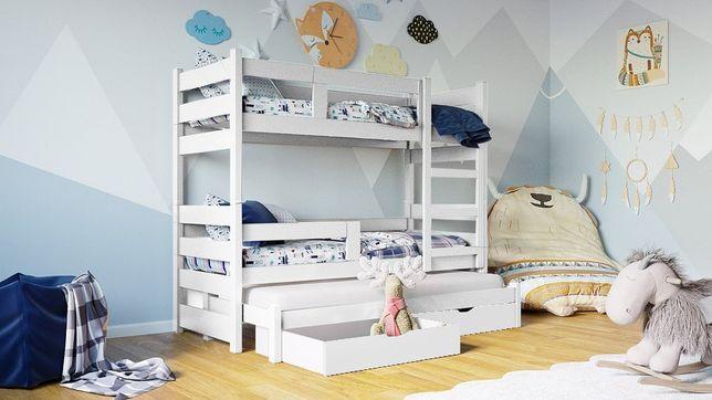 Trzyosobowe łóżko piętrowe z drewna dla dzieci, materace gratis !