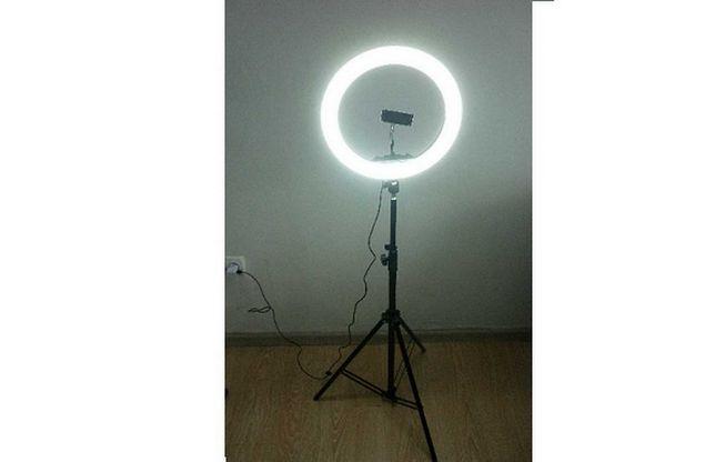 Кольцевая лампа 33см на штативе 2м, селфи пульт, держатель, шарнир.