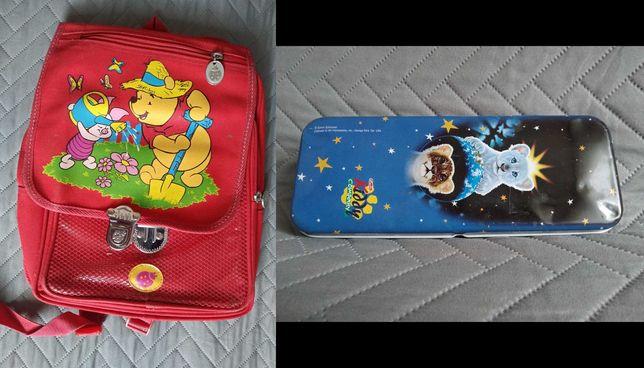 zestaw plecak/ tornister kubus puchatek  i piornik metalowy