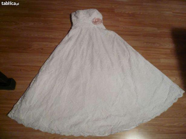 suknia ślubna litera A rozm 40 gratis halka i koło