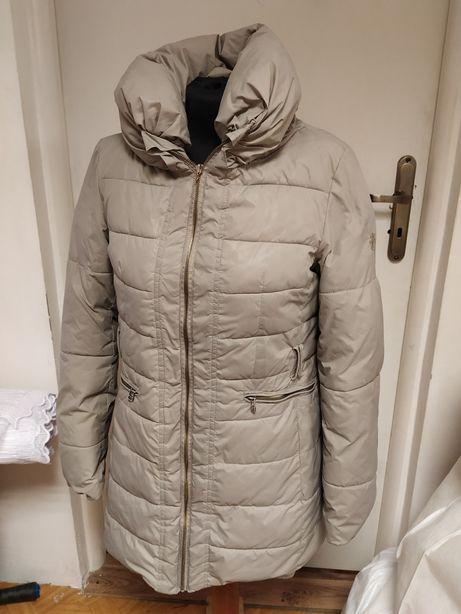 Długa zimowa kurtka z odpinanym polarem M