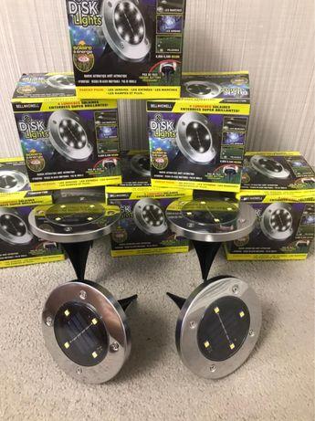 Светильнил Садовый Disk lights Лед Solar.  В комплекте 4 шт.
