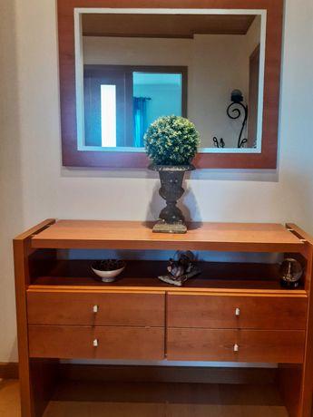 Conjunto de hall de entrada consola e espelho