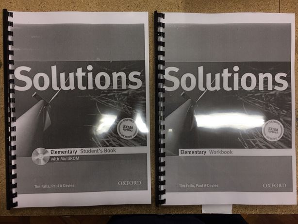Solutions Elementary Students book, Work book.