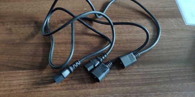 Kabel zasilający, przedłużacz 1m, iec c13 męski/żenski