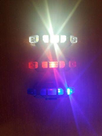 Luz LED para Ciclismo 5 LED's (Vermelha/Branca/Azul)