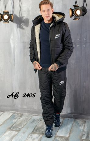 Мужской костюм спортивный на меху теплый зимний лыжный, куртка и брюки